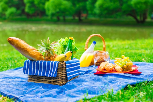 Picknickkorb mit früchten, brot und flasche weißwein