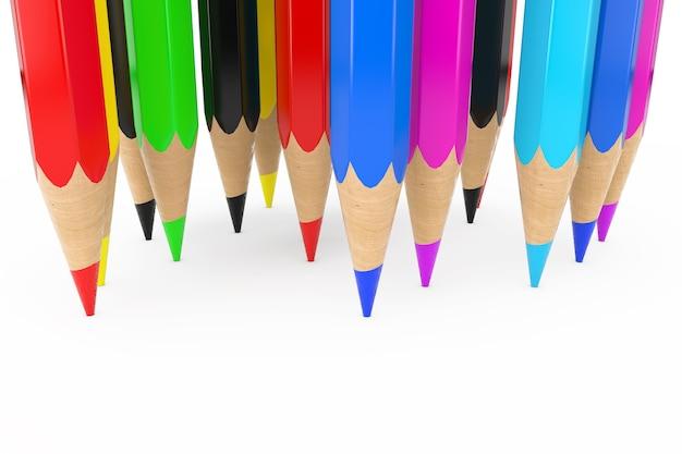 Pile of color pencil nibs closeup auf weißem hintergrund. 3d-rendering