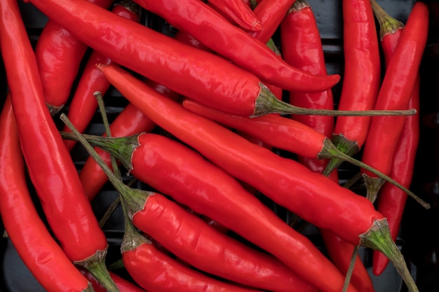 Pile of hot chili peppers.