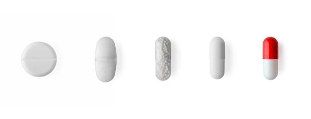 Pille und kapseln isoliert auf weißem hintergrund