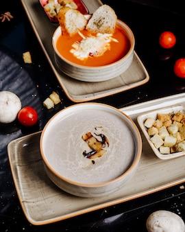 Pilz- und tomatensaucen in zwei schalen mit crackern.