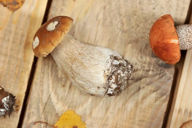 Pilze auf einem hölzernen rustikalen hintergrund