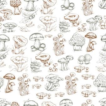 Pilze grafiken handgezeichnete print textil illustration hintergrund set muster nahtlose färbung