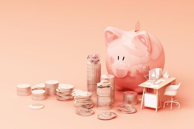 Pingelige bank und münze, um geld zu investieren, ideen, um geld für die zukünftige verwendung zu sparen. mit arbeitstisch und auto und haus. 3d-rendering