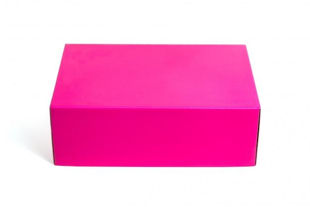 Pink box oder green paper package box isoliert auf weiß