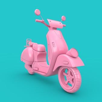 Pink classic vintage retro oder elektroroller duotone auf blauem hintergrund 3d-rendering
