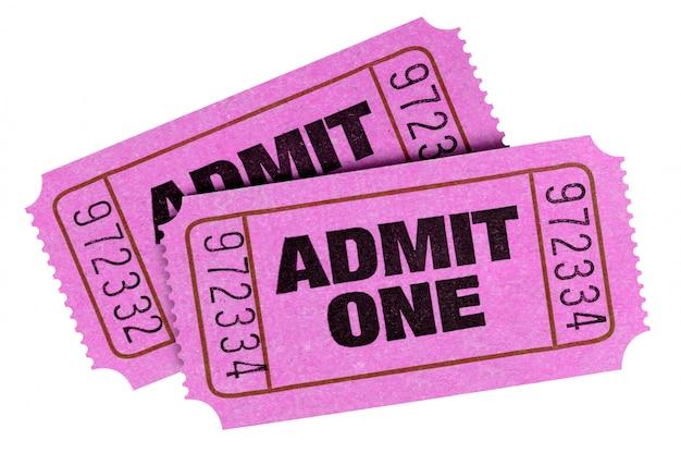 Pink gibt ein ticket isoliert auf weiß