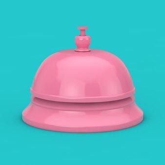 Pink reception ring alarm service bell mock up auf blauem grund. 3d-rendering