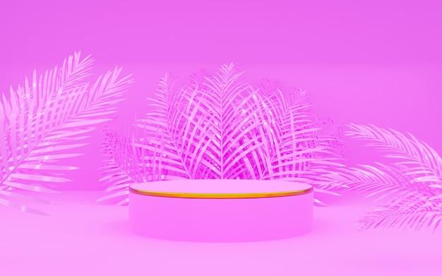 Pink round podest mit palmblatt für produktpräsentationen. 3d-rendering. rosa hintergrund.