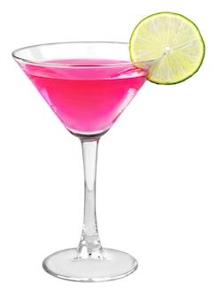 Pinker cocktail mit limettengarnitur