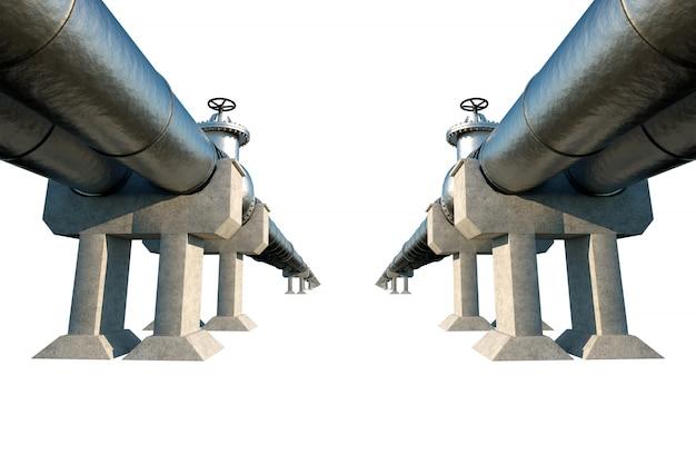 Pipeline isoliert auf einer weißen wand, transport von öl und gas durch rohre. technologie, politik, rohstoffe, wirtschaft. speicherplatz kopieren. 3d-rendering, 3d-illustration.