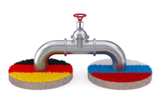 Pipeline zwischen russland und deutschland auf weißem hintergrund. isolierte 3d-darstellung