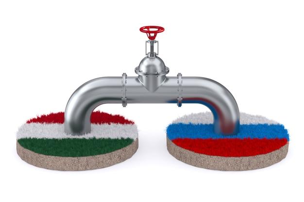 Pipeline zwischen russland und ungarn auf weißem hintergrund. isolierte 3d-darstellung