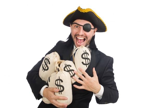 Piratengeschäftsmann, der geldtaschen lokalisiert auf weiß hält