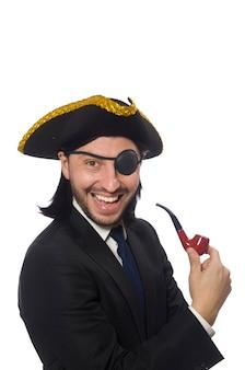 Piratengeschäftsmann mit der pfeife lokalisiert auf weiß