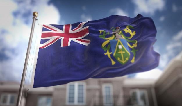 Pitcairn inseln flagge 3d rendering auf blauem himmel gebäude hintergrund
