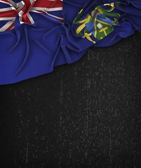 Pitcairn-inseln-flagge vintag auf einem grunge-schwarz-tafel mit raum für text