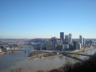 Pittsburgh winter skyline park