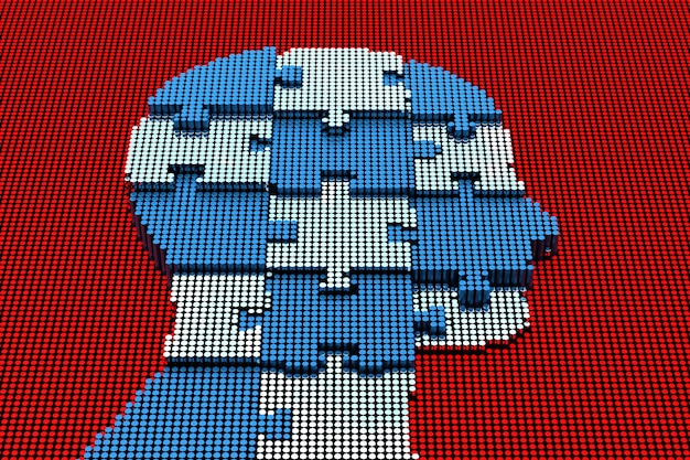 Pixel art menschlicher kopf mit puzzle. 3d-rendering