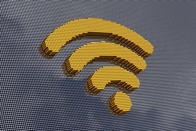 Pixel art style wifi-symbol. 3d-rendering