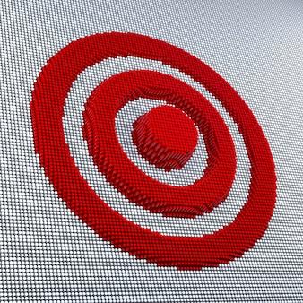 Pixel-art-ziel. 3d-rendering