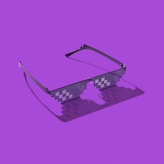 Pixel computer brille auf einem lila mit harten schatten. schutz der augen vor schädlichem künstlichem blauem licht von computerbildschirmen und fernsehgeräten.