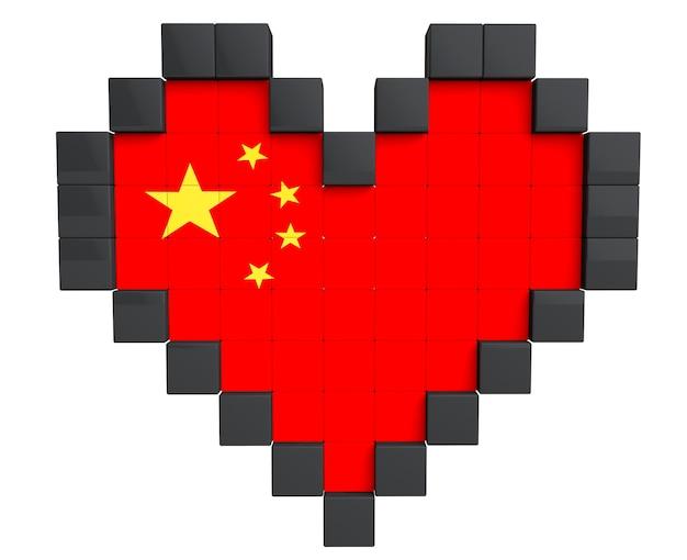 Pixel heart als china-flagge auf weißem hintergrund