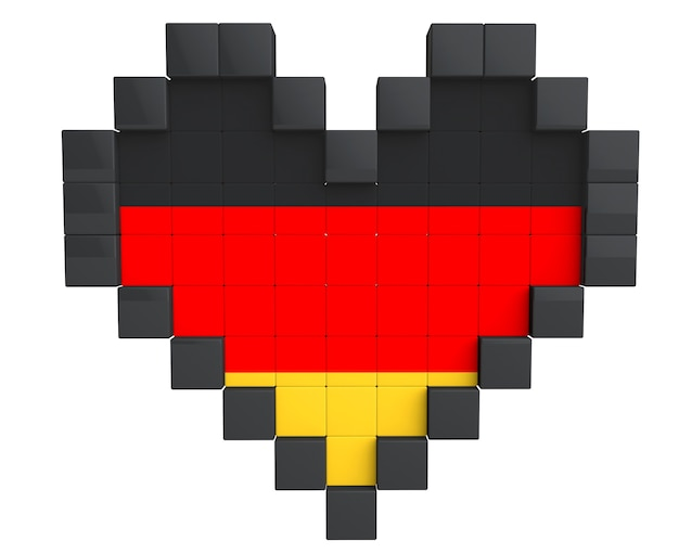 Pixel heart als deutschland-flagge auf weißem hintergrund