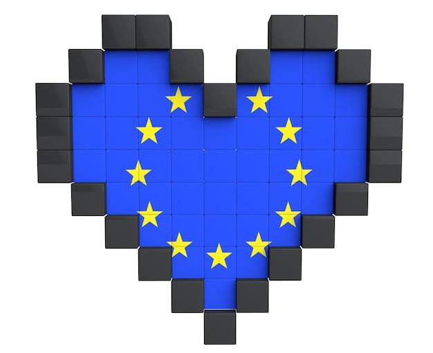 Pixel heart als europaflagge auf weißem hintergrund