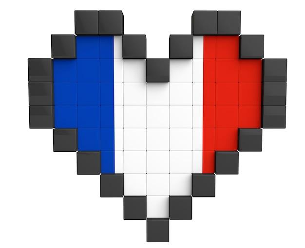 Pixel heart als frankreich-flagge auf weißem hintergrund