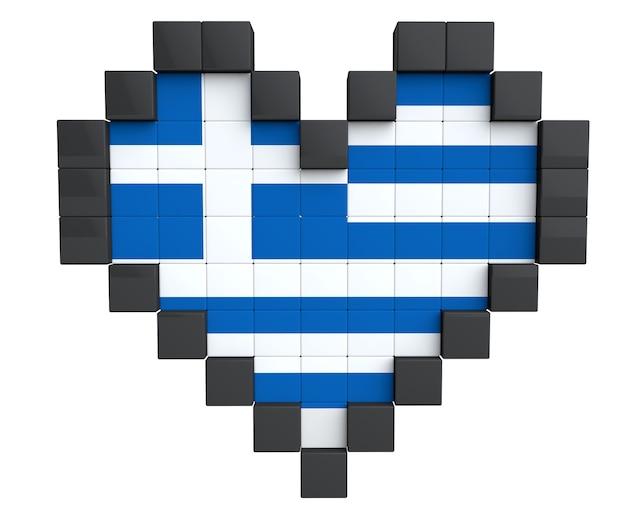 Pixel heart als griechenland-flagge auf weißem hintergrund