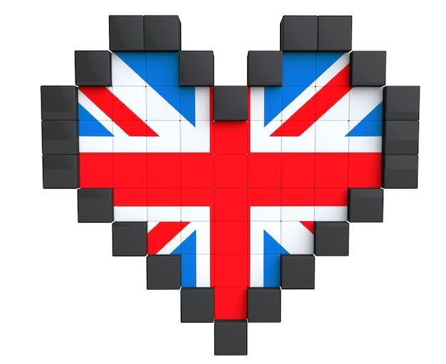 Pixel heart als großbritannien-flagge auf weißem hintergrund