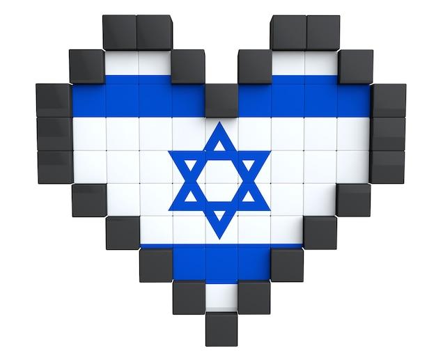 Pixel heart als israel-flagge auf weißem hintergrund
