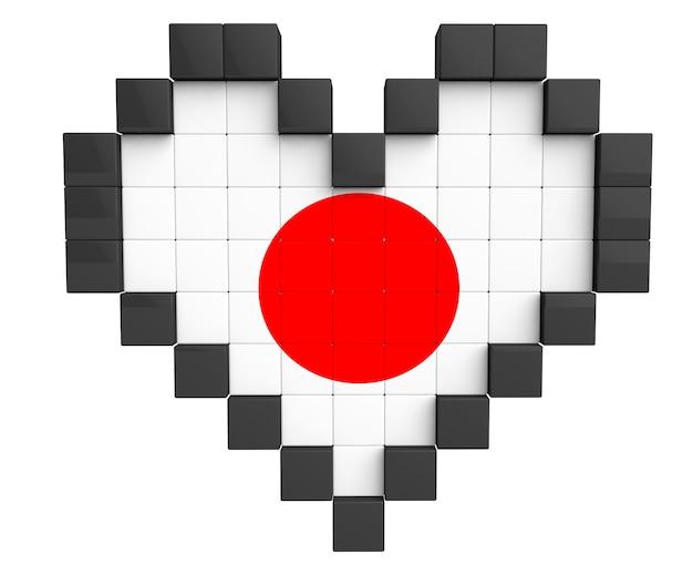 Pixel heart als japan-flagge auf weißem hintergrund