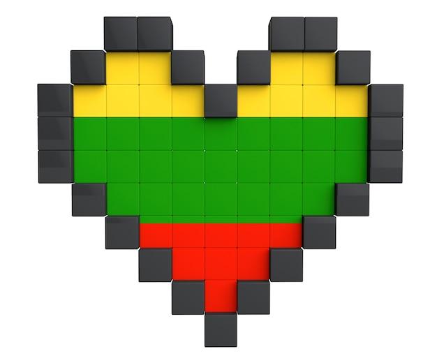 Pixel heart als litauen-flagge auf weißem hintergrund
