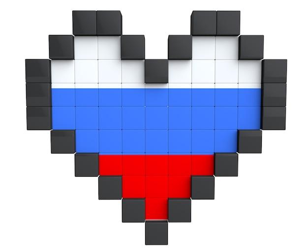 Pixel heart als russland-flagge auf weißem hintergrund