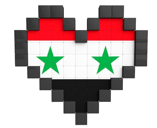 Pixel heart als syrien-flagge auf weißem hintergrund