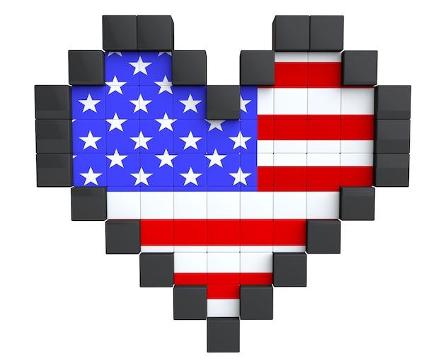 Pixel heart als usa-flagge auf weißem hintergrund