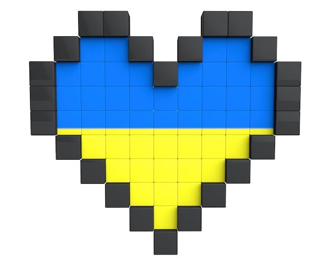 Pixel-herz als ukraine-flagge auf weißem hintergrund