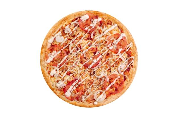 Pizza getrennt auf weißem hintergrund. heißes fast food