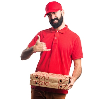Pizza lieferung mann machen horn geste