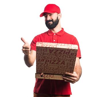 Pizza lieferung mann mit daumen nach oben
