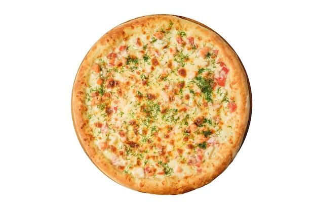 Pizza lokalisiert auf weißem hintergrund