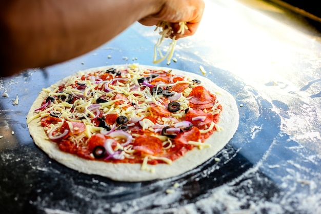 Pizza mit mozzarella garniert