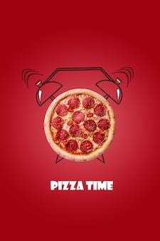Pizza und wecker handgezeichnete illustration auf rotem hintergrund die aufschrift pizzazeit