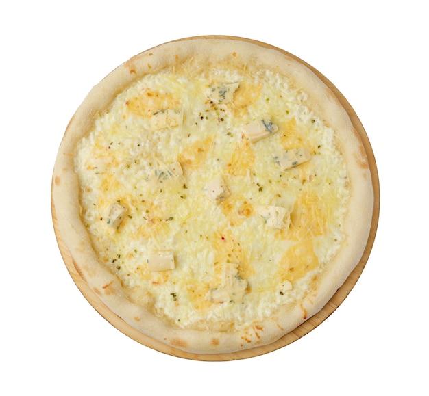 Pizza vier käse lokalisiert auf weißem hintergrund