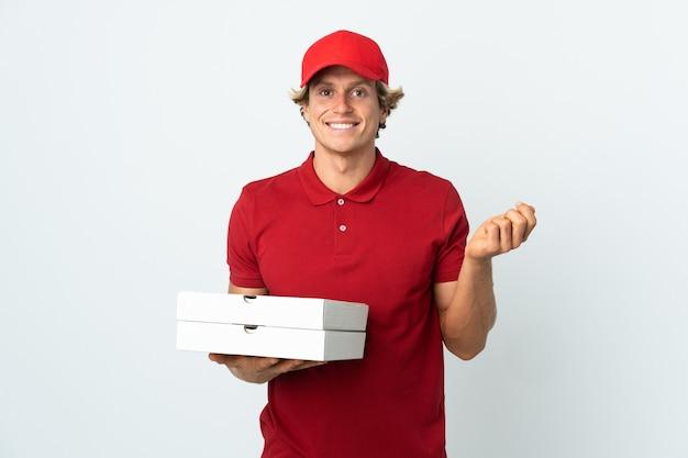 Pizza-zusteller über isolierte weiße wand, die geldgeste macht