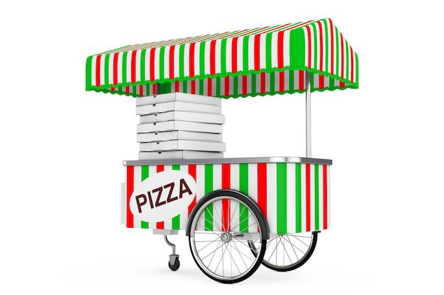 Pizzawagen auf weißem hintergrund. 3d-rendering