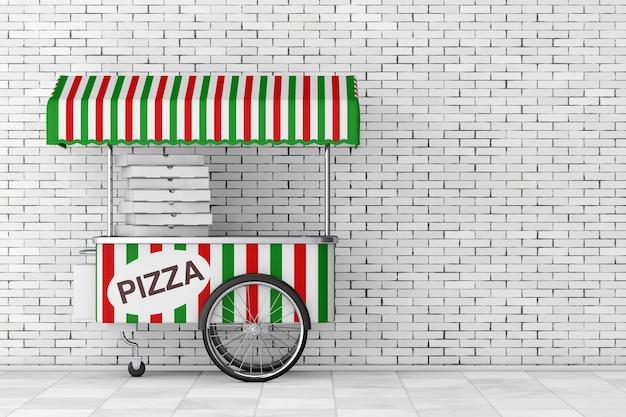 Pizzawagen-wagen vor backsteinmauer. 3d-rendering