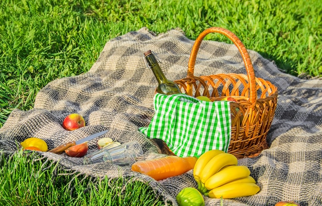 Plaid für ein picknick auf dem rasen. selektiver fokus